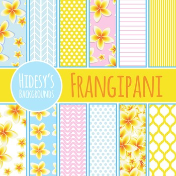 Frangipani or Plumeria Hawaiian Themed Backgrounds / Patterns Clip Art