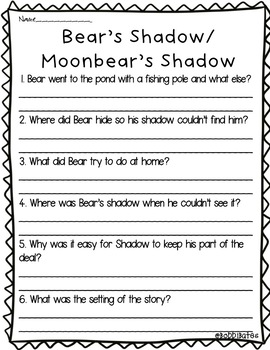 Frank Asch Books Comprehension Questions