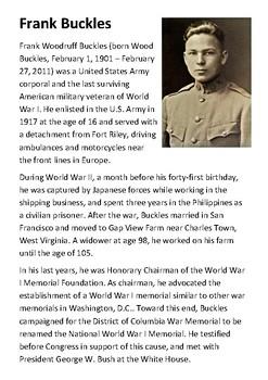 Frank Buckles World War One Handout