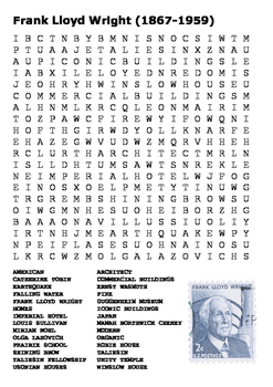 Frank Lloyd Wright Word Search and Stamp Template