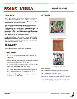 Frank Stella Informational Worksheet