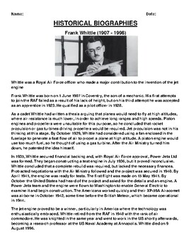 Frank Whittle  Biography Article and (3) Assignments