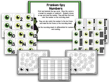 Frankenstein Halloween Math And Literacy Centers