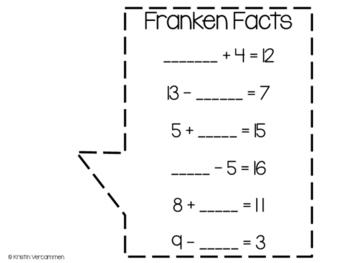 Franken Facts - Missing Addends Craftivity
