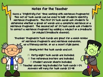 """""""Franken"""" Fragments Task Cards (Sentence Fragments)"""