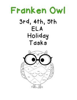 Franken Owl ELA Holiday Tasks