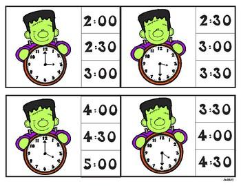 Franken Time - Telling Time Clip Cards - Hour/Half Hour