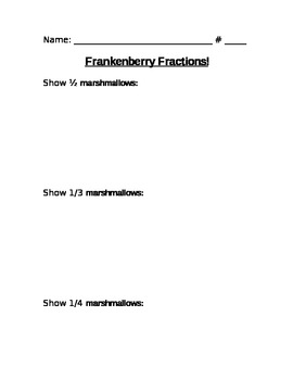 FrankenBerry Fun With Fractions Cereal Activity