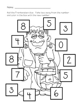 Frankenstein 2 More/2 Less Math Worksheets