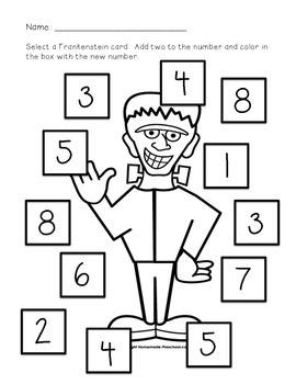 Frankenstein 2 More/2 Less Math Worksheets