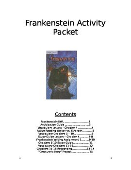 Frankenstein Activity Packet
