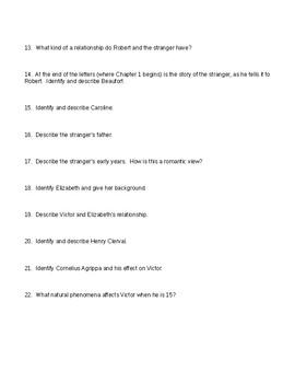 Frankenstein bk 1-2 Open book quiz