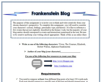 Frankenstein Blog Writing Activity-Digital Writing, Reading, & Textual Analysis