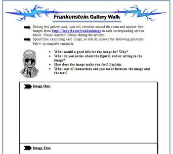 Frankenstein Bundle: Blog Activity, Gallery Walk, & Thematic Analysis Chart
