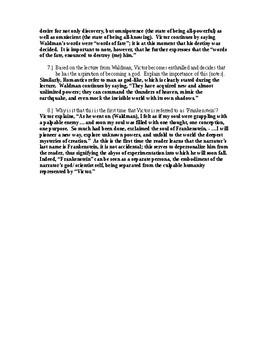 Frankenstein Chapter 3 Reading Comprehension Key
