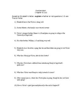 Frankenstein Chapter 6 Quiz