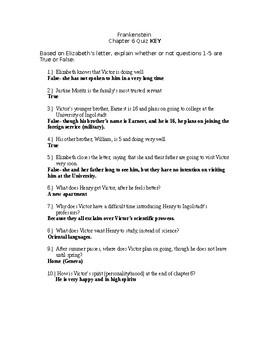 Frankenstein Chapter 6 Quiz KEY