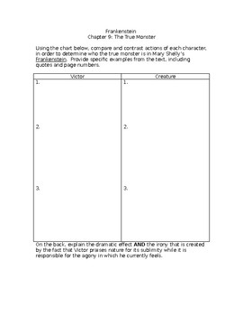 Frankenstein Chapter 9 Worksheet