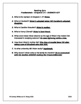 Frankenstein Chapters 1-4 Quiz with Answer Key