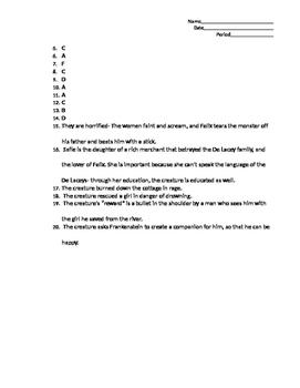 Frankenstein Chapters 10-17 Test
