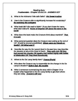 Frankenstein Chapters 13-14 Quiz with Answer Key