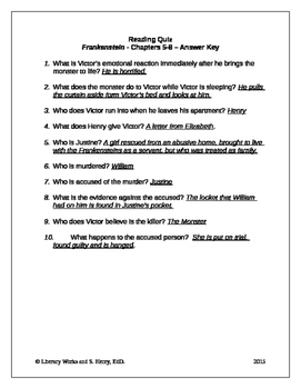 frankenstein chapters 5 8 quiz with answer key by literacy works rh teacherspayteachers com Frankenstein Study Guide for Questions film study guide young frankenstein answer key