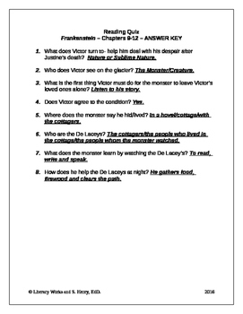 Frankenstein Chapters 9-12 Quiz with Answer Key