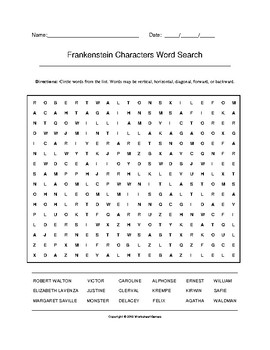 Frankenstein Characters Word Search (Grades 9-12) with Key