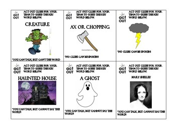 Frankenstein Charades and Pictionary
