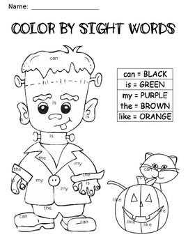 Frankenstein Color by Sight Word