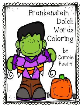 Frankenstein Coloring Dolch Words