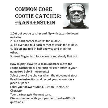 Frankenstein  Common Core Cootie CatcherGame