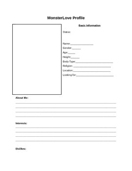 Online dating profile worksheet