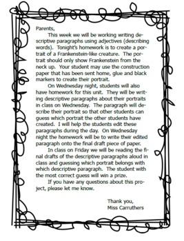 Frankenstein Descriptive Paragraph Unit