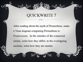 Frankenstein Discussion Questions/Quick Writes