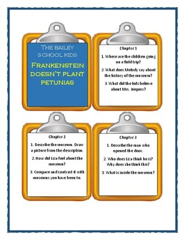 Bailey School FRANKENSTEIN DOESN'T PLANT PETUNIAS -Discussion Cards