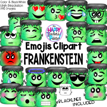 HTP Clip Art Frankenstein Emojis Watercolor {The Happy Teacher's Palette}