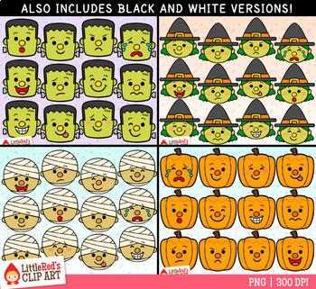 Halloween Character Faces Emojis Clip Art Bundle