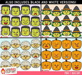 Halloween Character Faces Emojis Clip Art Bundle