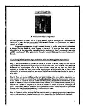 Frankenstein Essay Assignment
