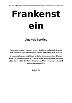 Frankenstein - FULL SUMMARY & ANALYSIS REVISION / STUDY GUIDE