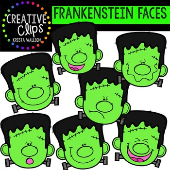 Frankenstein Faces {Creative Clips Digital Clipart}
