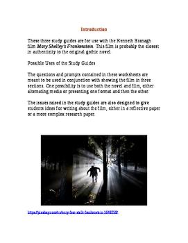 Frankenstein Film Study Guides
