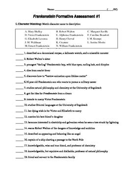 Frankenstein Formative Assessments