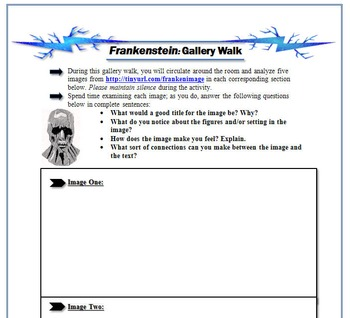 Frankenstein Gallery Walk: Writing and Image Analysis Activity