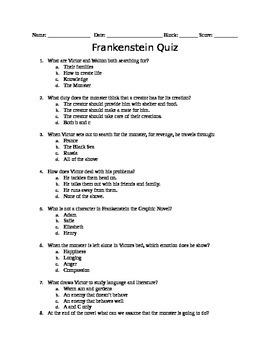 Frankenstein Graphic Novel Quiz