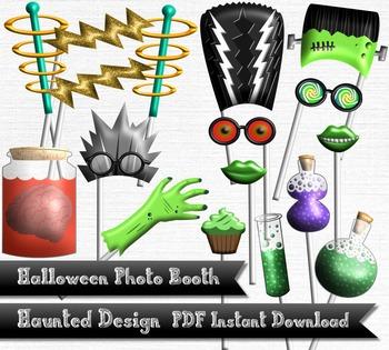 Frankenstein Halloween Photobooth Photo Booth 17 Piece Printable 300 DPI PDF