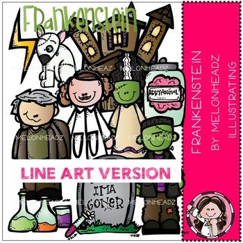 Frankenstein clip art - LINE ART- Melonheadz clipart