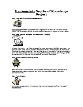 Frankenstein Levels of Knowledge Project