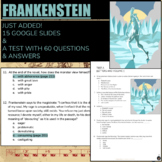 Frankenstein: Literature: ELA (test; essay questions; entire novel)